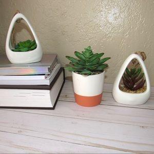Faux Succulent Decor / Hanging Faux Succulents